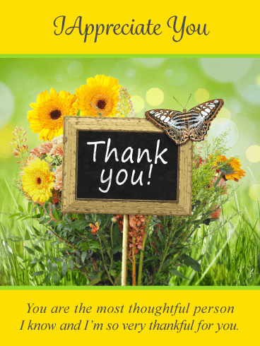 Butterflies & Flowers – Thank You Card