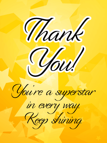 You're a Superstar - Thank You Card