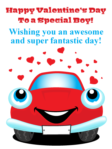 Adorable Car - Happy Valentine's Day Card for Boy