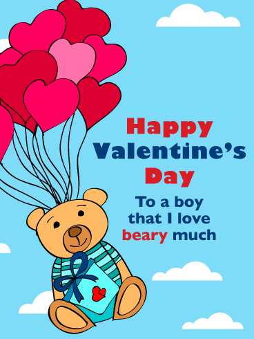 I Love You Beary Much! - Happy Valentine's Day Card for Boy