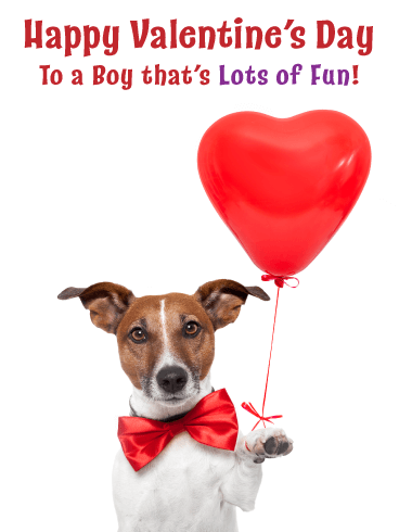 Puppy with Bow Tie - Happy Valentine's Day Card for Boy
