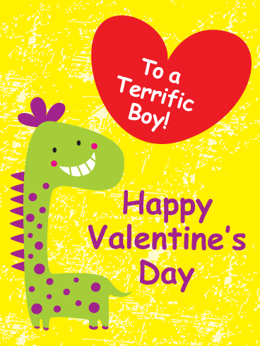 Smiling Dinosaur - Happy Valentine's Day Card for Boy