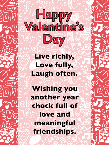Live, Love, Laugh - Happy Valentine's Day Card for Everyone