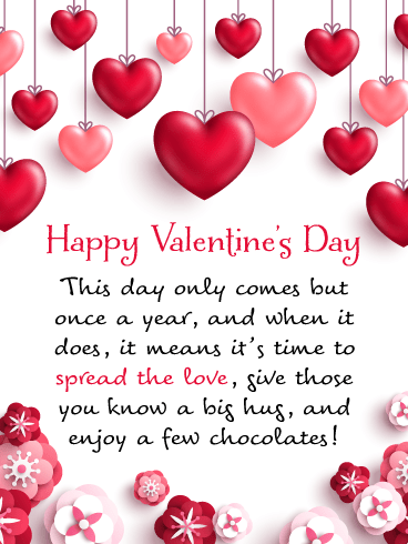 Hearts & Flowers - Happy Valentine's Day Card for Everyone