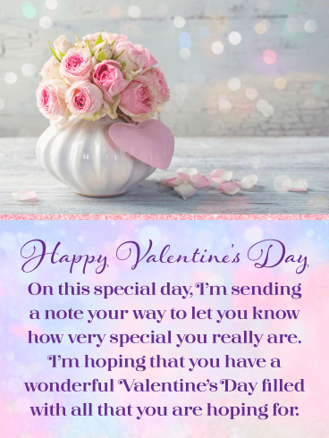 Flowers & Sparkles – Happy Valentine's Day Card for Everyone