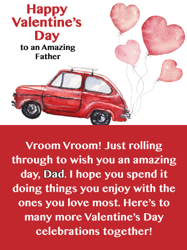 Red Car - Happy Valentine's Day Card for Father