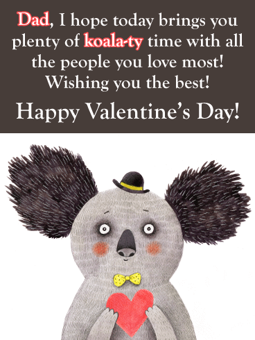Koala-ty Time - Funny Valentine's Day Card for Father