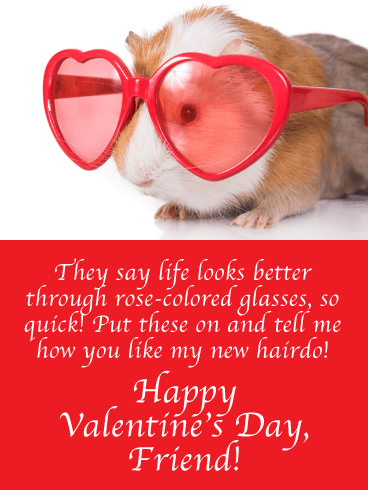 Rose-Colored Guinea - Funny Valentine's Day Cards for Friend