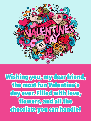 Valen-tiny Doodles - Happy Valentine's Day Card for Friend