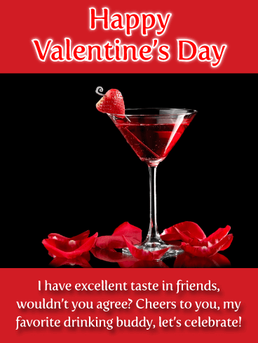 Red Cocktail - Happy Valentine's Day Wish Card for Friend