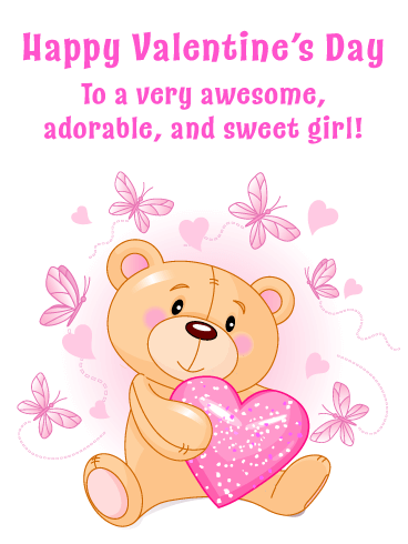 Bear & Pink Butterflies - Happy Valentine's Day for Girl