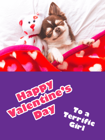 Lovable Puppy - Happy Valentine's Day for Girl