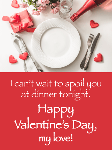 Romantic Dinner - Happy Valentine's Day Card for Her