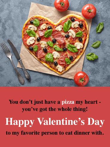 Pizza My Heart - Happy Valentine's Day Card for Her