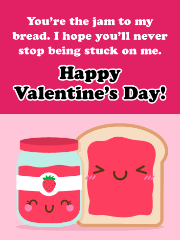 You're the Jam to my Bread! - Happy Valentine's Day Card for Her