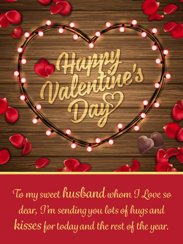 Sparkling Lights & Roses – Happy Valentine's Day Card for Husband
