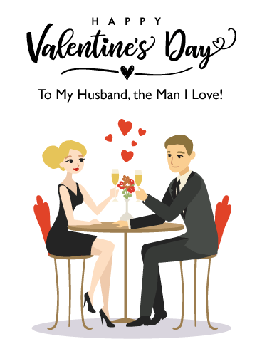 Dinner for Two – Happy Valentine's Day Card for Husband