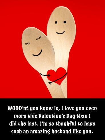 Cute Wooden Spoons – Happy Valentine's Day Card for Husband