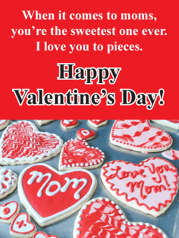 Unique Heart Cookies - Happy Valentine's Day Card for Mother