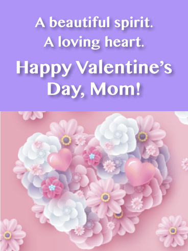 Floral Heart - Happy Valentine's Day Card for Mother