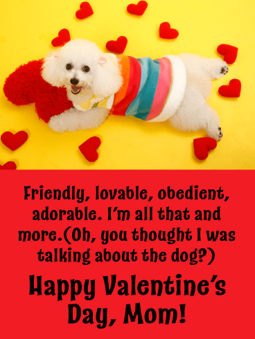 Friendly, lovable, obedient, adorable. I'm all that and more. (Oh, you thought I was talking about the dog?) Happy Valentine's Day, Mom!