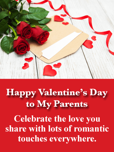 Classic Red Roses - Happy Valentine's Day Card for Parents