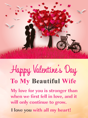 Romantic Scene - Happy Valentine's Day Card for Wife