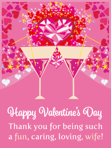 Fabulous Drinks - Happy Valentine's Day Card for Wife