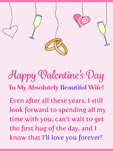 Wedding Rings & Hearts - Happy Valentine's Day Card for Wife