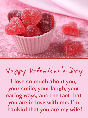 Sweet Candy Hearts – Happy Valentine's Day Card for Wife