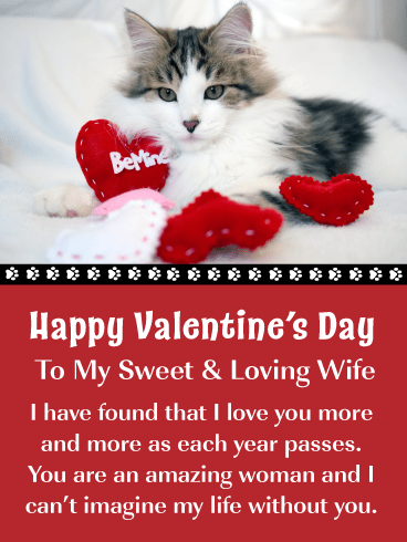 Sweet Kitty – Happy Valentine's Day Card for Wife