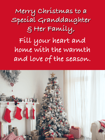 Fill Your Heart -  Merry Christmas Card for Granddaughter & Her Family