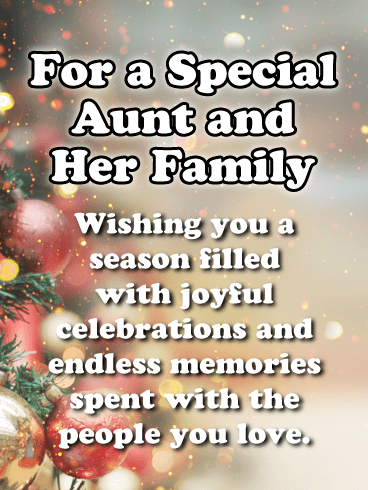 A Colorfully Decorated Tree - Merry Christmas Card for Aunt & Her Family