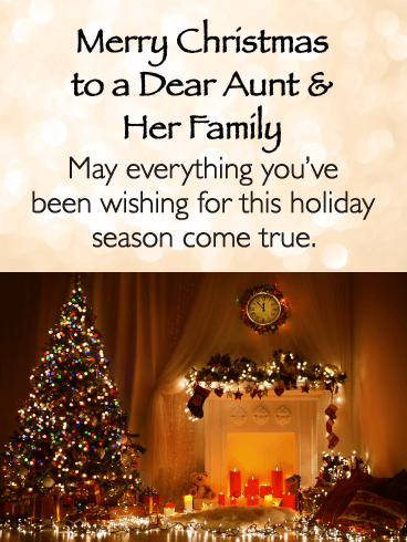 Warm And Beautiful Merry Christmas Card For Aunt Her