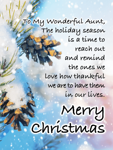 Lovely Pinecones - Merry Christmas Card for Aunt