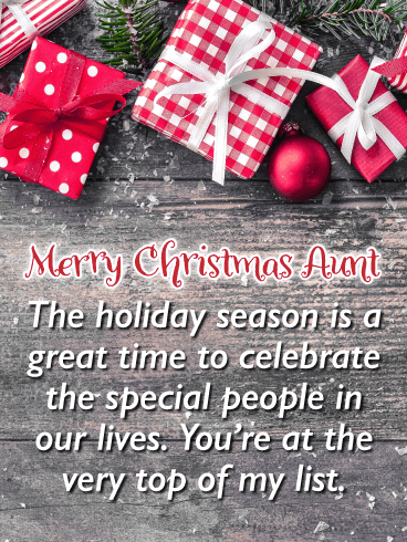 Gifts For You! - Merry Christmas Card for Aunt
