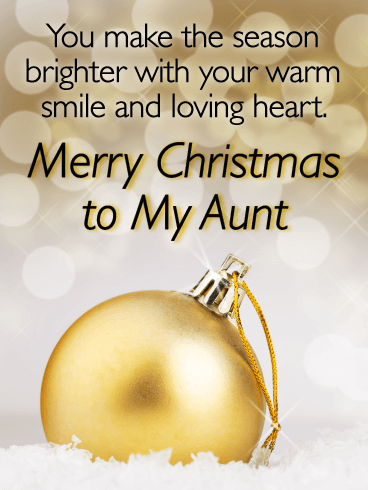 The Golden Decorations - Merry Christmas Card for Aunt