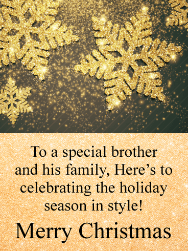 Golden Celebration - Merry Christmas Card for Brother & His Family