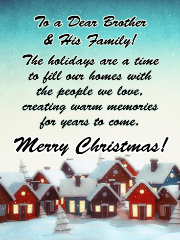 A Charming Holiday Village - Merry Christmas Card for Brother & His Family