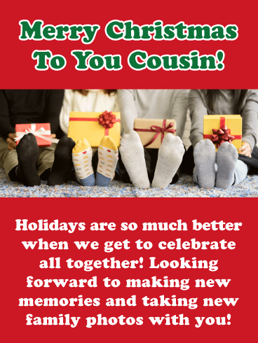 Kids with Gifts - Merry Christmas Card for Cousin