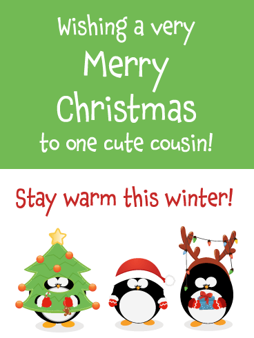 Cozy Penguins - Merry Christmas Card for Cousin