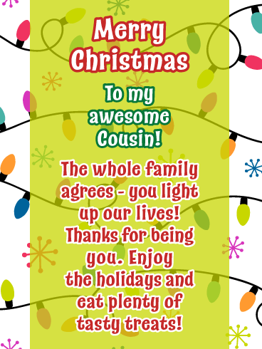 Light Up the Holidays - Merry Christmas Card for Cousin
