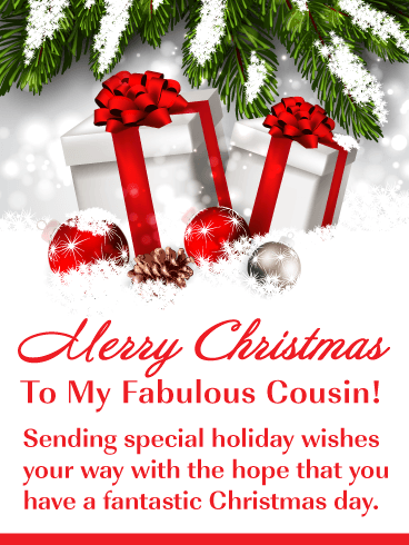 Beautiful Holiday Presents Merry Christmas Card For Cousin
