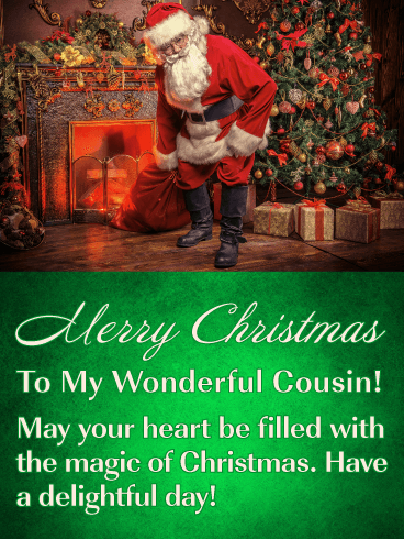 A Little Holiday Magic - Merry Christmas Card for Cousin