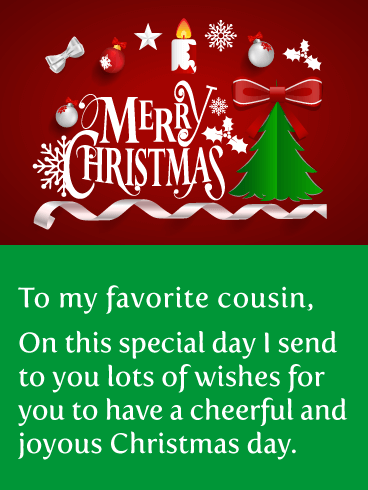 My Favorite Christmas Card >> Special Wishes Merry Christmas Card For Cousin Birthday