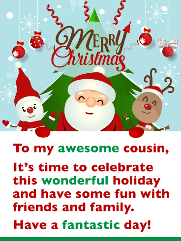 Festive Holiday Characters - Merry Christmas Card for Cousin