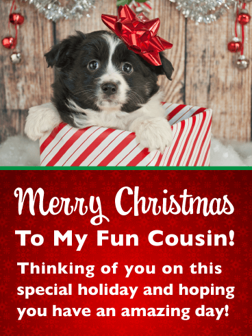 Adorable Puppy in Gift Box - Merry Christmas Card for Cousin