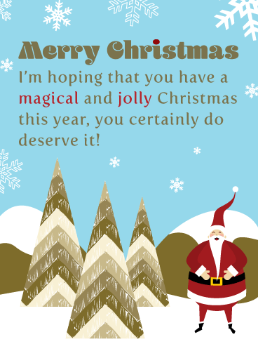 Jolly Santa - Contemporary Merry Christmas Card