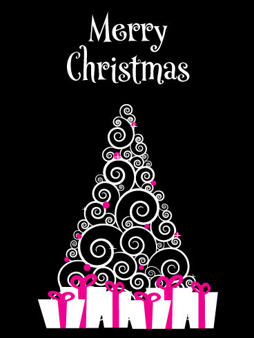 Simplistic & Artistic Swirls - Contemporary Merry Christmas Card