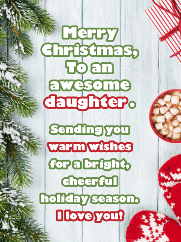 Merry & Bright - Christmas Card Wishes for Daughter